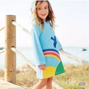 Girls 4T 5T Light Blue Rainbow Casual Dress